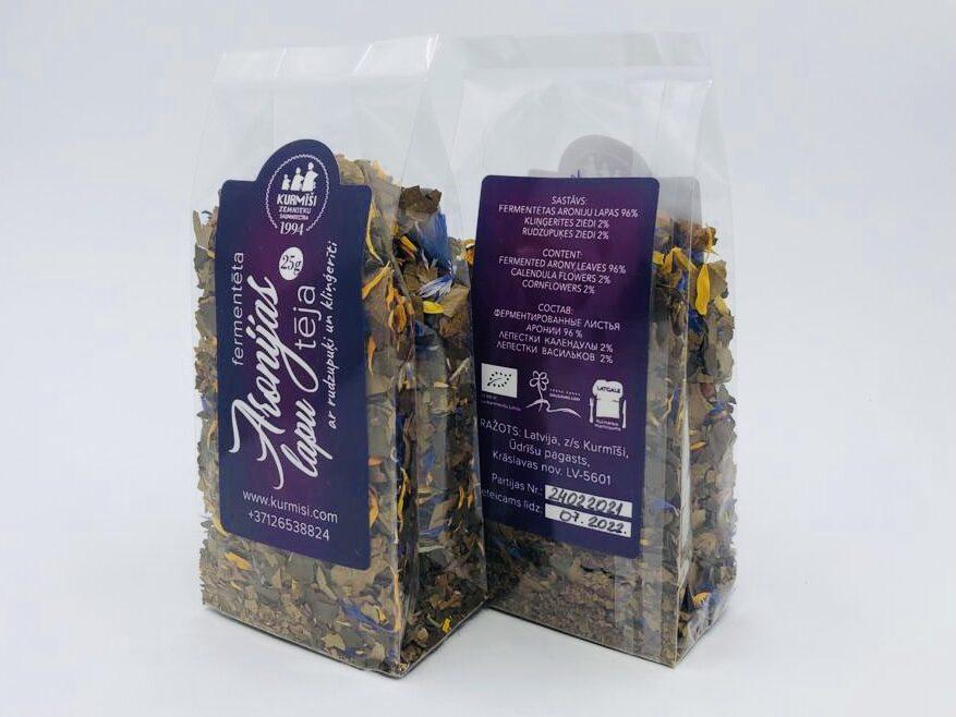 Fermentētu aronijas lapu tēja ar rudzupuķi un klinģerīti